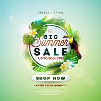 Summer Sale Design with Flower, Toucan and Exotic Leaves on Nature Green Background. Tropical Floral Vector Illustration with Special Offer Typography Elements for Coupon