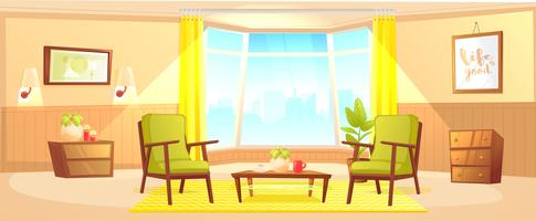 Classic living room home interior design banner vector