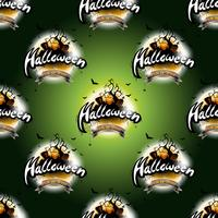 Happy Halloween seamless pattern illustration with moon and pumpkin on dark green background.