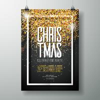 Vector Merry Christmas Party Poster Design Template with Holiday Typography Elements and Shiny Light on Dark Background.