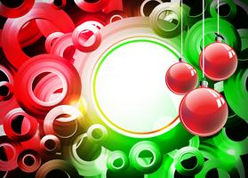 Holiday illustration with red Christmas ball on abstract circle background.