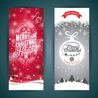 Vector Merry Christmas and Happy New Year greeting card illustration with typographic design and snowflakes on winter landscape background.