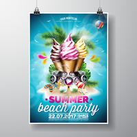 Vector Summer Beach Party Flyer Design con helados y elementos de música
