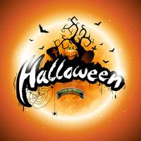 Vector Happy Halloween illustration with pumpkin and moon on orange background.