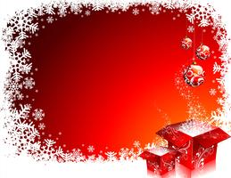 Julillustration med presentkartonger på röd bakgrund