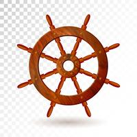 Ship steering wheel isolated on transparent background. Detailed vector illustration for your design.