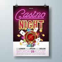 Vector Casino night flyer illustration with gambling design elements and shiny neon light lettering on brick wall background. Lighting signboard, roulette wheel