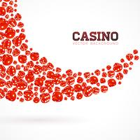 Casino illustration with floating dices on white background. Vector gambling isolated design element.