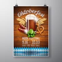 Oktoberfest poster vector illustration with fresh dark beer on wood texture background.