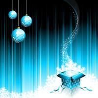 Julillustration med magisk presentförpackning och glasboll på blå bakgrund.