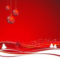 Illustrazione di Natale con palla rossa per biglietto di auguri.