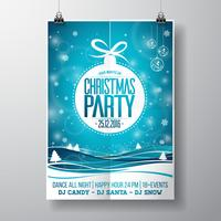 Vector Merry Christmas Party design with holiday typography elements and glass balls on winter landscape background.