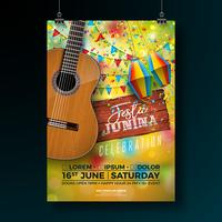 Festa Junina Party Flyer Illustration with Typography Design on Vintage Wood Board and Acoustic Guitar. Flags and Paper Lantern on Yellow Background. Vector Brazil June Festival Design