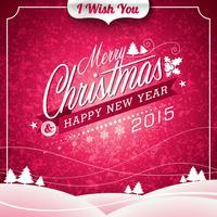 Vector ilustración de Navidad con diseño tipográfico sobre fondo de paisaje