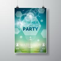 Vector partij flyer poster sjabloon op zomer strand thema