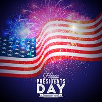 Happy Presidents Day dell'illustrazione di vettore di USA Celebration Design con bandiera