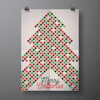 Vector Merry Christmas Holiday illustration with typographic design and abstract color texture pattern on clean background.