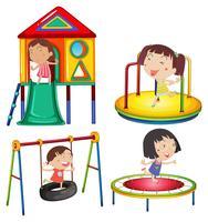Niños jugando en las estaciones de juego.