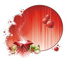 Vector Weihnachtsillustration mit Geschenkbox auf rotem Hintergrund