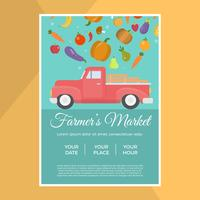 Platte lokale Farmer's Market Flyer Vector sjabloon