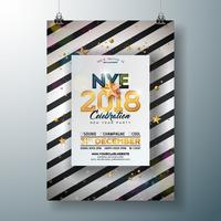 Ejemplo de la plantilla del cartel de la celebración del partido de Año Nuevo 2018 con número brillante del oro en fondo blanco y negro abstracto. Vector Holiday Premium invitación Flyer o Promo Banner.