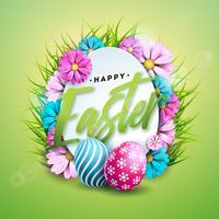 Illustrazione vettoriale di felice vacanza di Pasqua con uova dipinte e fiori di colore