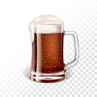 Vector illustration with fresh dark beer in a beer mug on transparent background.
