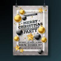 Diseño del aviador de la fiesta de Navidad feliz con los elementos de la tipografía del día de fiesta y las bolas ornamentales, estrella de papel del recorte, rama del pino en fondo ligero. Vector premium celebración cartel ilustración.