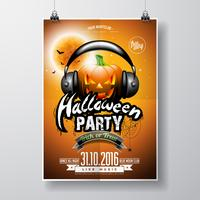 Vector Halloween Party Flyer Design con calabaza y auriculares sobre fondo naranja