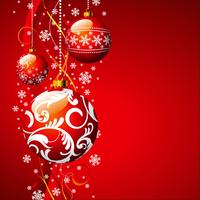 Vector Christmas illustration with red glass ball and snowflakes.