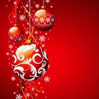 Illustrazione vettoriale di Natale con palla di vetro rossa e fiocchi di neve.