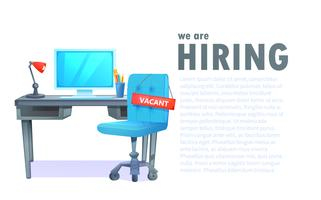 """We are hiring"" banner with office workspace and sign vacant and inscription"