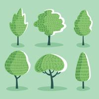 Textured Cartoon Tree Clipart Set Vector