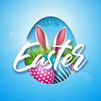 Ilustración vectorial de felices vacaciones de Pascua con huevo pintado, orejas de conejo y flor