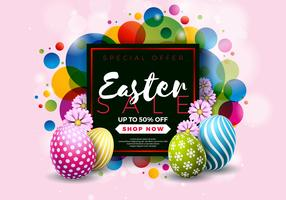 Ilustración de venta de Pascua con huevo pintado de color y elemento de tipografía sobre fondo abstracto