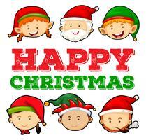 Diseño de tarjeta navideña con santa y elfo.