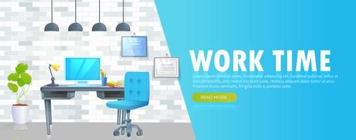 Work time in office banner vector