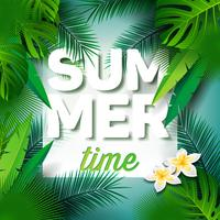 Vector Summer Time Holiday typographic illustration on palm leaves background.