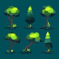 Fantasia Árvore Clipart Set Vector