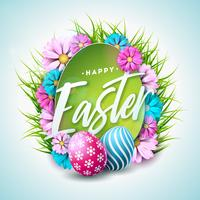 Happy Easter Holiday Illustration with Painted Egg, Flower and Green Grass on White Background. Vector International Spring Celebration