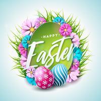 Ejemplo feliz del día de fiesta de Pascua con el huevo pintado, la flor y la hierba verde en el fondo blanco. Celebración Internacional de Primavera Vector