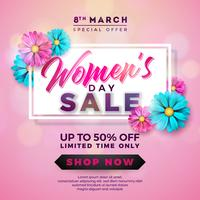Womens Day Sale design avec belle fleur colorée sur fond rose