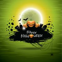 Vector illustration on a Halloween theme on green background