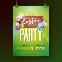 Panfleto de festa de Páscoa de vetor com ovos pintados e elementos de tipografia