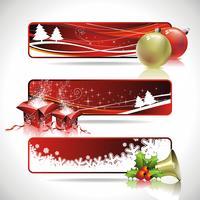 Fahnendesign mit drei Vektoren auf einem Weihnachtsthema.