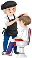Barber giving boy haircut