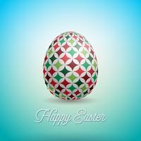 Ilustración del vector del día de fiesta feliz de Pascua con el huevo y la flor pintados en fondo limpio