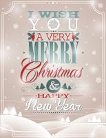 Vector illustration de Noël avec un design typographique sur fond de flocons de neige.