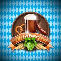 Oktoberfest vector illustration with fresh dark beer on blue white background