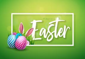 Illustrazione vettoriale di felice vacanza di Pasqua con uova dipinte, orecchie di coniglio e fiori